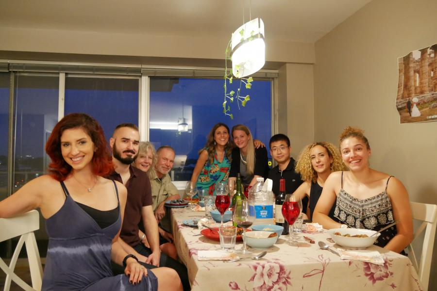 An authentic Italian farewell dinner party hosted by Carnegie postdoctoral researcher Teresa Fornaro. From left to right: Joy Buongiorno, Olivier Gagne, Margee Hazen, Bob Hazen, Teresa Fornaro, Shaunna Morrison, Shuang Zhang, Asmaa Boujibar, and Sammy Howell.